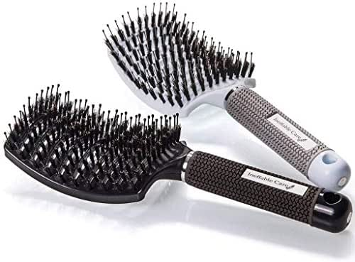 Boar Bristle Hair Brush set – Curved and Vented Detangling Hair Brush for Women Long, Thick, Thin, Curly & Tangled Hair Vent Brush Gift kit