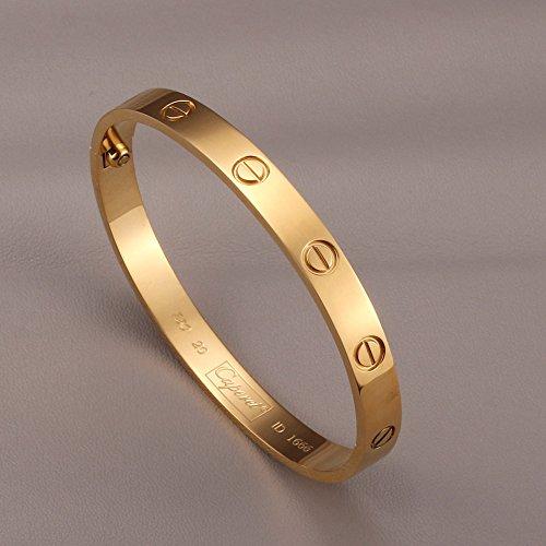 Stainless Steel Screw Head Oval Gold Tone Bangle Bracelet