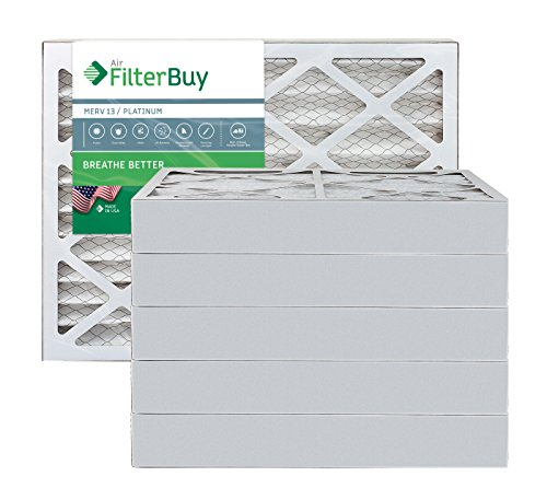 FilterBuy 14x20x4 MERV 13 Pleated AC Furnace Air Filter, (Pack of 6 Filters), 14x20x4 – Platinum