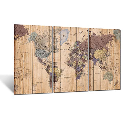 Size 3 Panel Vintage World Map Canvas Wall Art for Home Decor Map of The World Posters Prints Painting Modern Artwork Wooden Framed Maps Office Decor Ready to Hang 20x36inchx3pcs ()
