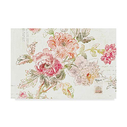 Trademark Fine Art Toile Roses I by Sue Schlabach, 12x19-Inch