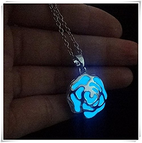 one jewerly FLOWER Light blue Luminous Necklace