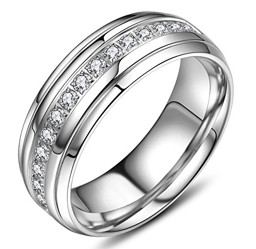 VXGold Quality Mens Rings 8mm Wedding Band High Polish with Half Row Cubic Zirconia Pave Setting (9)