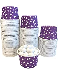 Candy Nut Mini Baking Paper Treat Cups - Purple White - Polka Dot - Bulk 100 Pack