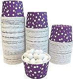 Candy Nut Mini Baking Paper Treat Cups - Purple White - Polka Dot - Bulk 100 Pack