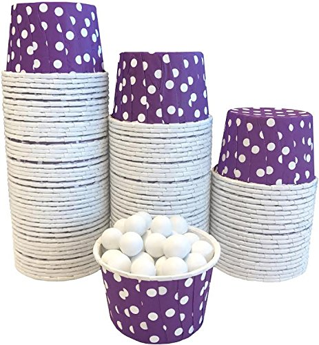 Candy Nut Mini Baking Paper Treat Cups - Purple White - Polka Dot - Bulk 100 Pack - Nut Cups
