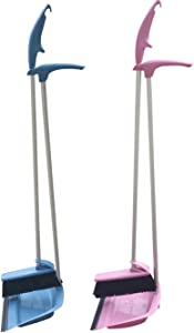 """Coralpearl Upright Standing Dustpan and Brush Set Dust Pan Broom Combo Sweep Cleaning Tool Organizer with Long handle Rubber Lip for Lobby Kitchen Garden Garage Outdoors Indoor 36""""(Blue+Pink)"""