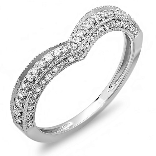 0.33 Carat (ctw) 14K White Gold Round Diamond Ladies Anniversary Wedding Band Enhancer Guard Chevron Ring 1/3 CT - 14k Gold Chevron