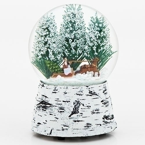 - Horse Sleigh Snow 5.5 Inch Resin Musical Glitterdome Water Globe Plays Over the River