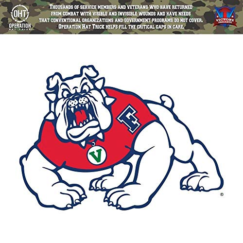 Victory Tailgate Fresno State Bulldogs Operation Hat Trick OHT Die Cut Vinyl Decal (12 Inch)