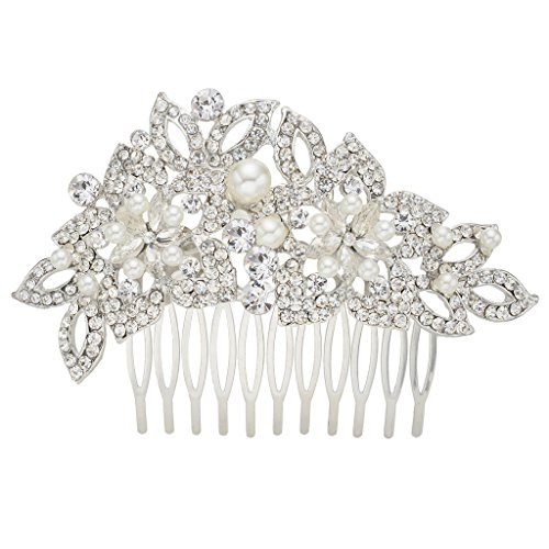 EVER FAITH Wedding Silver-Tone Teardrop Simulated Pearl Hair Comb