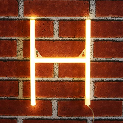 Led Neon Tubes (Light up LED Neon Letter Sign Wall Decorative Neon Lights Warm White Alphabet Marquee Letter Lights for Birthday Wedding Party Decor - H)
