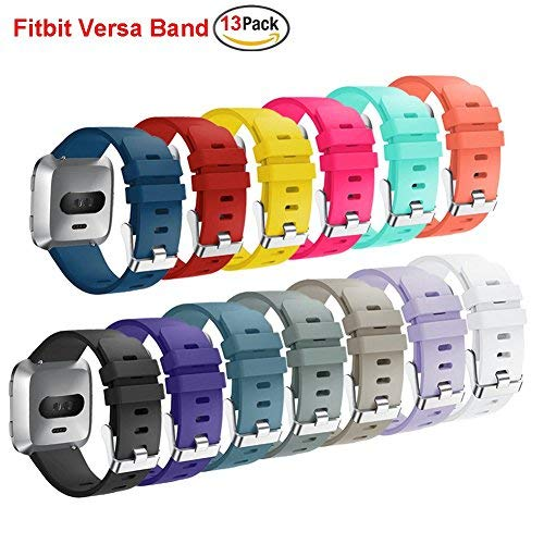 Budesi Bands Compatible Fitbit Versa Bands,Women Men Small&Large Silicone Replacement Band Sport Wriststrap with Metal Buckle Compatible Fitbit Versa Smartwatch