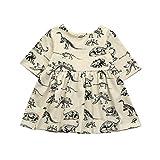 HLHN Baby Girls Dresses, Cartoon Dinosaur Print Cute Sun Outfits Toddler Infant (6-12 Months, Beige)