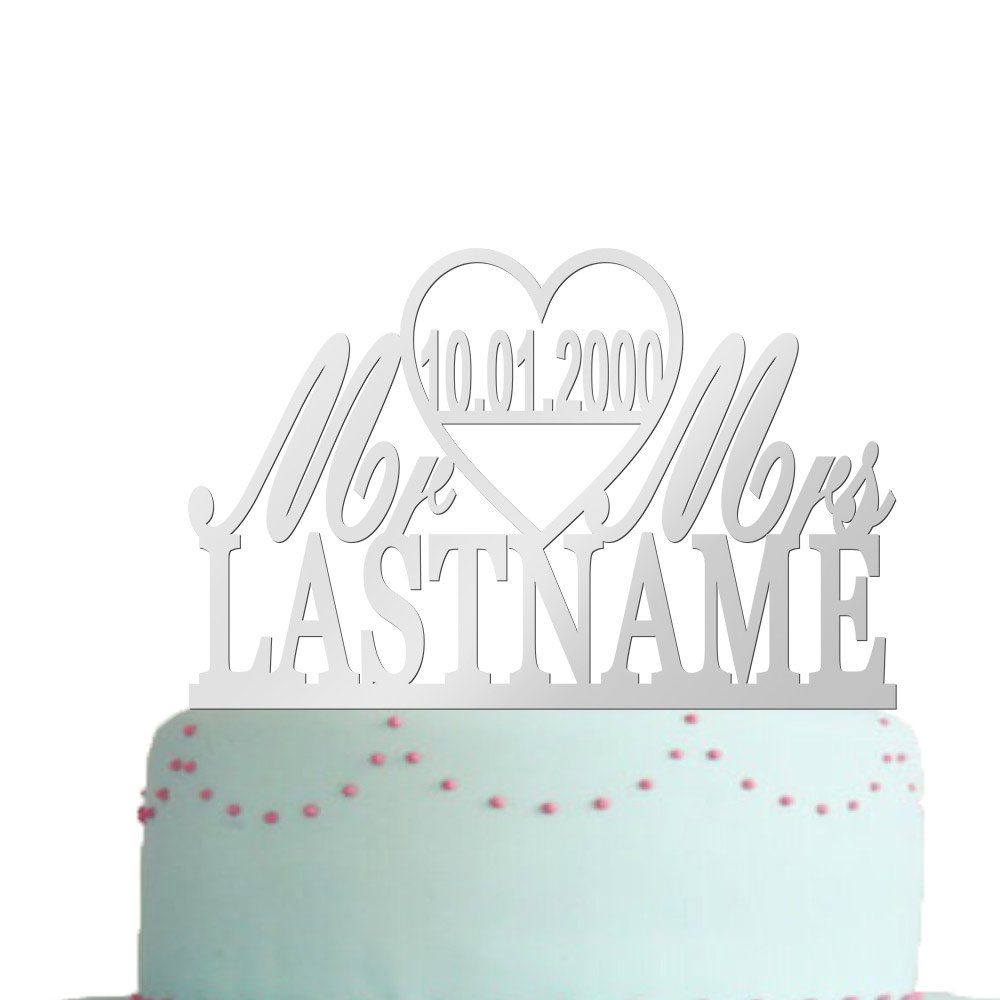 vspg Wedding Cake Toppers Mr&Mrs Personalized Name Date Anniversary Gift Mirror silver