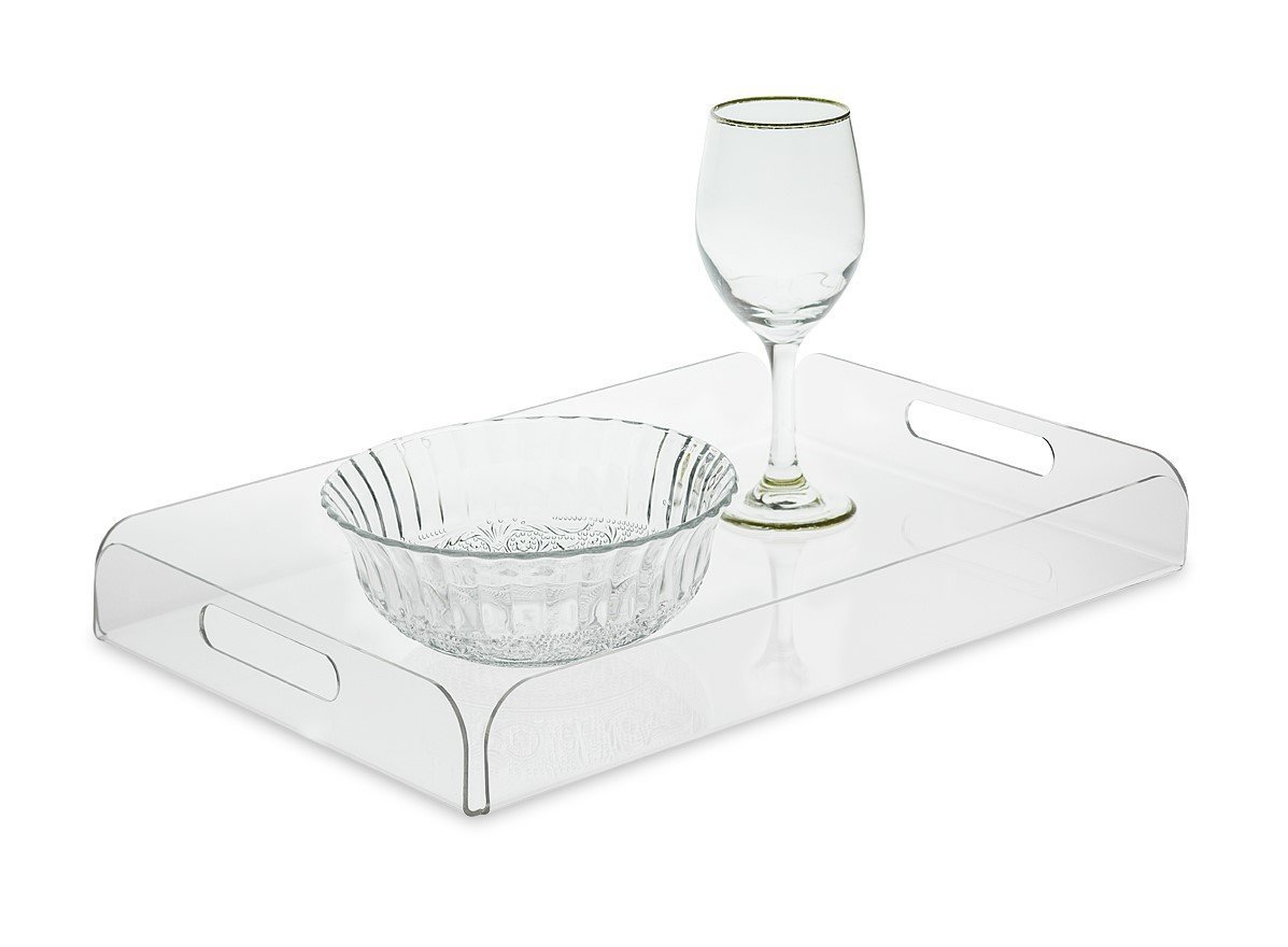 SOURCEONE.ORG Source One Deluxe Acrylic Tray, Tea tray, Breakfast tray Clear Acrylic Serving Tray with Handles (1 Pack, Original)