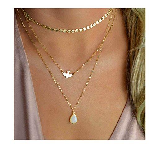 Aikooch Bead Bird Sequins Multilayer Choker Necklace for Women Golden