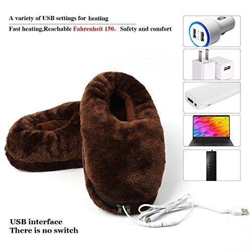 7buy Un Paio Di Scarpette Da Riscaldamento Elettriche Usb Peluche Scarpa Tenere Piede Più Caldo Per Il Freddo Invernale Marrone