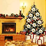 Christmas-Tree-Decorative-Silk-Flower120-Pcs-Artificial-Flowers-Red-Glitter-Poinsettia-Christmas-Tree-OrnamentsChristmas-Flower-Set-Xmas-Tree-Decoration-Pendant-Gold