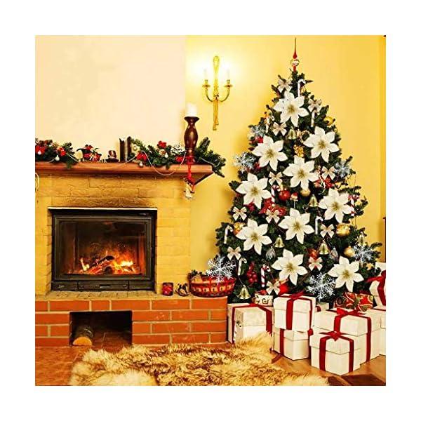 Christmas Tree Decorative Silk Flower,120 Pcs Artificial Flowers Red Glitter Poinsettia Christmas Tree Ornaments,Christmas Flower Set Xmas Tree Decoration Pendant (Gold)
