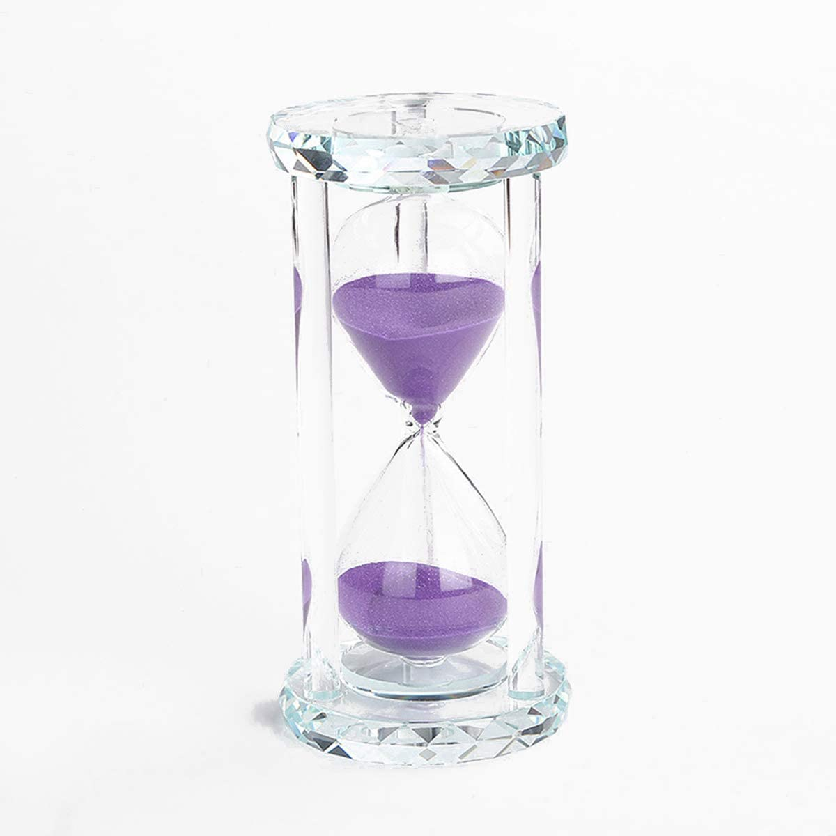 Lonovel 60 Minutes Hourglass Timer,Crystal Sand Timer Diamond Carving Surface,Good for Kitchen Office Desk Coffee Table Book Shelf Cabinet Decor Christmas Birthday Present Gift Box Package,(Purple)