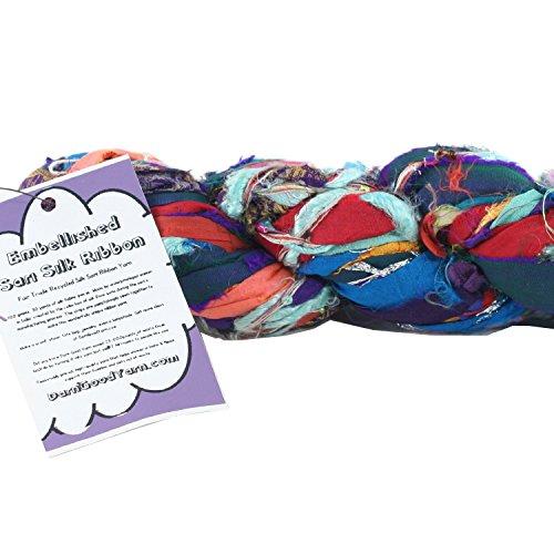 Darn Good Yarn, Istanbul Sparkle Embellished Sari Silk Ribbon, 30 Yards, Multicolor, 100 Grams, 1 (Embellished Ribbon)