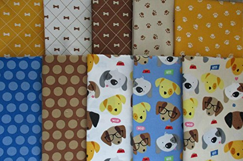 10 fat quarters Rover by Bella Blvd. from Riley Blake 100% cotton quilt dog puppy -
