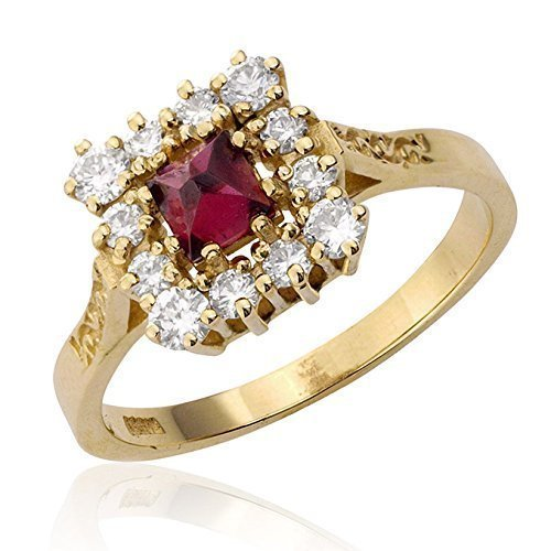 Handcrafted Antique Style Engraved Square Natural Garnet and 0.30 Ct Diamond 14k Yellow Gold Engagement Ring Size 7.5 - ()