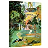 Paul Gauguin 'Matamoe (Landscape with Peacocks)' gallery-wrapped canvas is a high-quality canvas print depicting an abstract tropical landscape. Bursts of color show an island landscape and its native inhabitants and peacocks in the foreground symbol...