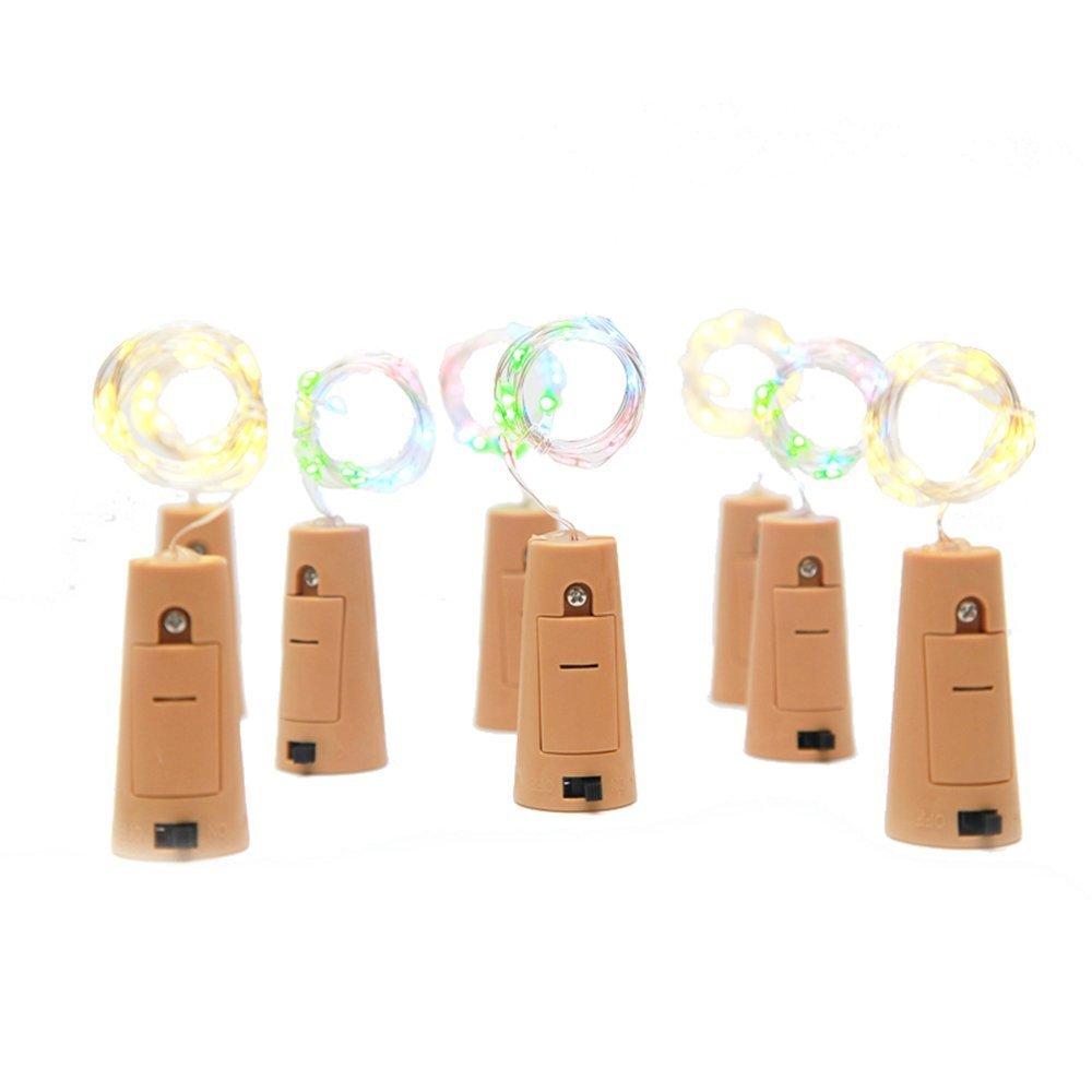 75cm Corcho Micro Luces LED para Botella de Vino,GZQES,Luz de la Secuencia del Alambre de Cobre del Corcho,Lámpara DIY Boda de Navidad,Color Multicolor (6): ...