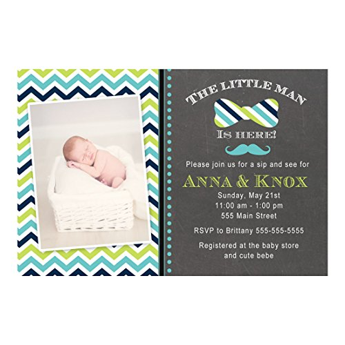 30 Invitations Sip And See Little Man Baby Shower Blue Green Photo Paper -