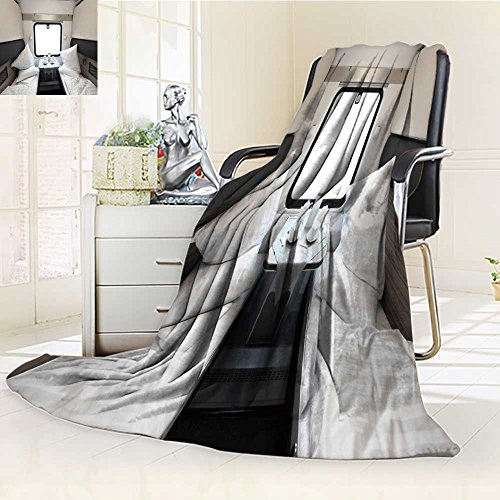 300 GSM Fleece Blanket Interior of a Coupe in a Passenger Train car Super Soft Warm Fuzzy Lightweight Bed or Couch Blanket(60