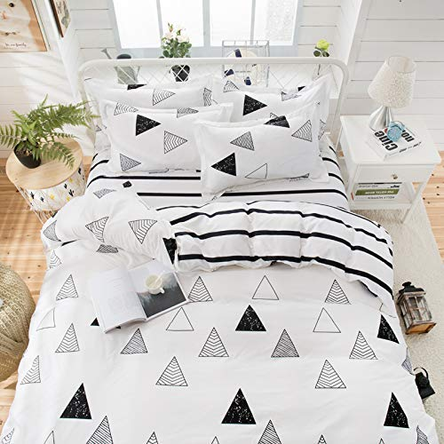 (KFZ Triangle Geometry White Duvet Cover Set, 3PCS Twin Bed Set Size with One Comforter Cover (Without Duvet Insert),2 Pillowcases in Standard Size, Modern Themed, Breathable Bed Set for Kids Teenagers)