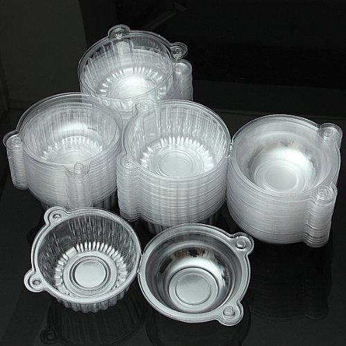 100Pcs Round Clear Cupcake Muffin Cookie Food Box Holder Container.