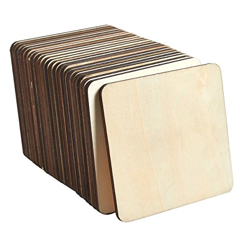 (Wood Coasters - 24-Pack Square Wooden Drink Coasters, Unfinished Wood Cup Coasters for Home Kitchen, Office Desk, 3.875 x 3.875 x 0.188 Inches)