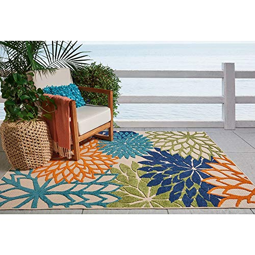 - 1 Pc Nautical Coastal Colorful 2x4 Rug, Beautiful Allover Floral Pattern Bold Tropical Green Blue Geometric Rug, Contemporary Design Botanical Feel Like Garden Abstract Rug Stain Resistant Outdoor Rug