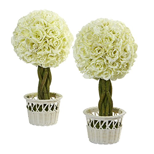 """Nearly Natural Artificial Plant 13"""" Rose Topiary in White Wicker Pot, Set of 2, 2 Piece"""