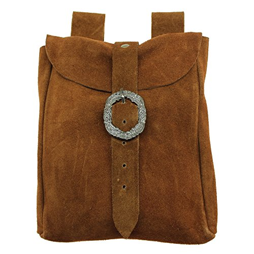 Medieval Style Belt Pouch Real Suede Leather Hip Purse Renaissance Side Bag ()