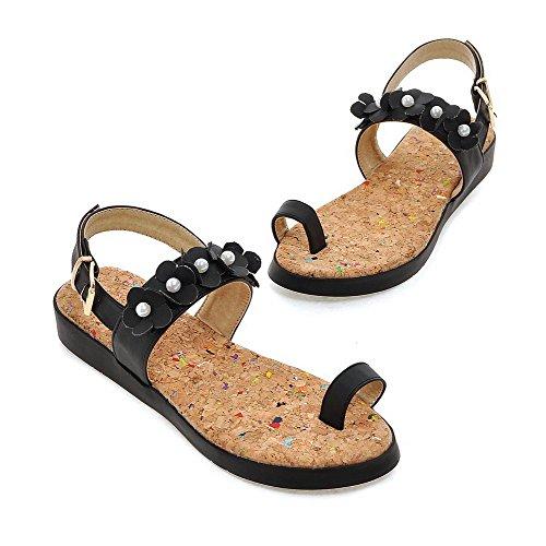 Allhqfashion Dames Lage Hakken Stevige Zachte Open Sandalen Met Open Gesp Zwart