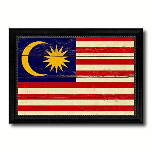 Malaysia Country Flag Vintage Canvas Print with Black Picture Frame Home Decor Wall Art Decoration Artwork - Pictures Malaysia Country