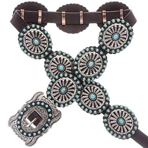 Kingman Turquoise Silver Concho Belt Traditional Navajo Made 0055