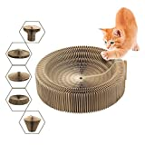 Cat Scratcher Collapsible Bed with Catnip, Cardboard Scratcher Play Toy Round Scratching Lounge Bed for Kitty Kitten Cat