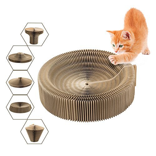 Cat Scratcher Collapsible Bed with Catnip, Cardboard Scratcher Play Toy Round Scratching Lounge Bed for Kitty Kitten Cat by Basen