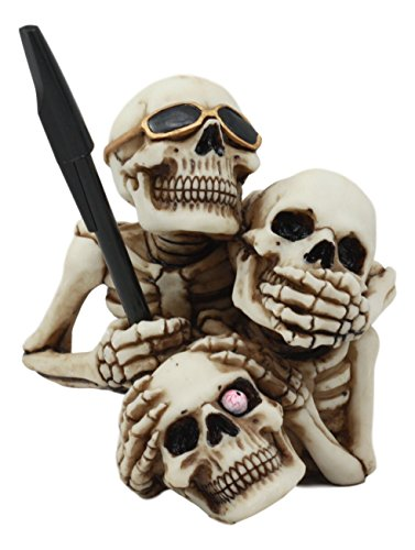 (Ebros See Hear Speak No Evil Stacked Up Comical Skeletons Pen Holder Statue Day Of The Dead Skull Figurine Three Wise)