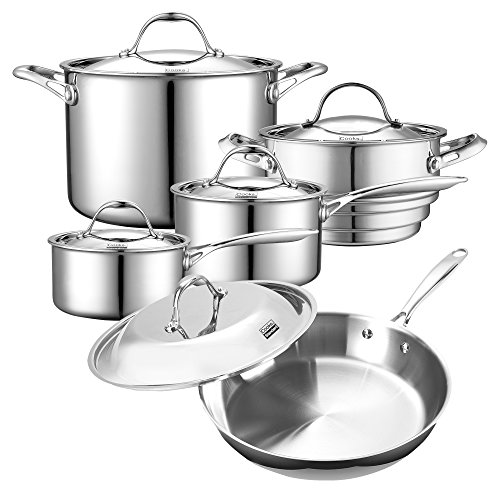 Cooks Standard 10-Piece Multi-Ply Clad Stainless Steel Cookware Set (Emerilware Steamer)