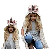 Girls Hoodie Hat Scarf, Bonice Animal Tassel Wool Winter Fall Knitted Shawl Hats