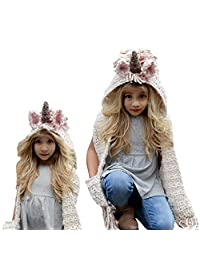 Girls Hoodie Hat Scarf, Bonice Animal Tassel Wool Winter Fall Knitted Shawl Hats Cap Hooded Cloak Cape Caps Beanies Party Cosplay Gifts for 3-12 Year Old Girls - Pink Unicorn