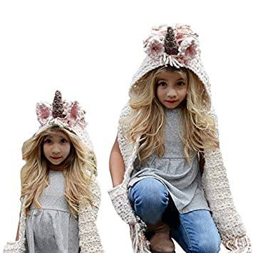 Girls Hoodie Hat Scarf, Bonice Animal Tassel Wool Winter Fall Knitted Shawl Hats Cap Hooded Cloak Cape Caps Beanies Party Cosplay Gifts for 3-12 Year Old Girls - Pink Unicorn BT-Unicorn-Hat-fen66
