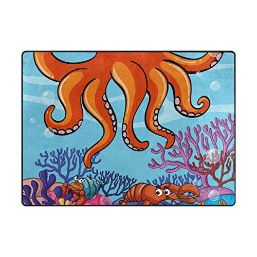 Area Rug Carpet Floor Mat, Ocean Animal Super Soft Non-Slip Floor Rugs Nursery Play Mat Yoga Pads for Women Kids Toddlers Home Decor 5'x7']()