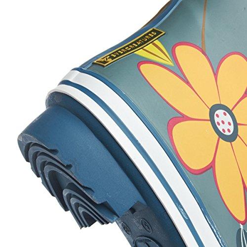 Evercreatures Ladies Dahlia Funky Rubber Wellies Garden Pattern - Various Sizes Blau